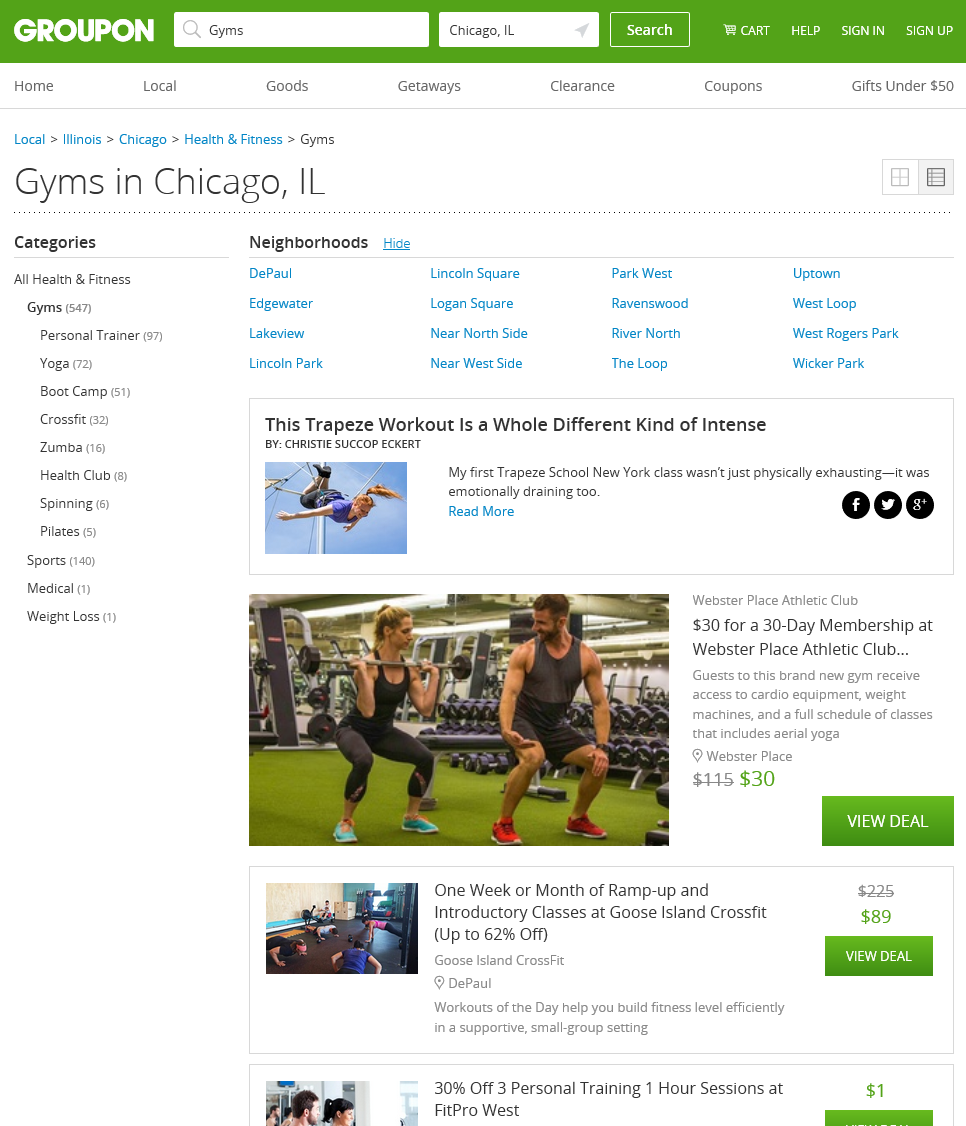 groupon gym pages in chicago