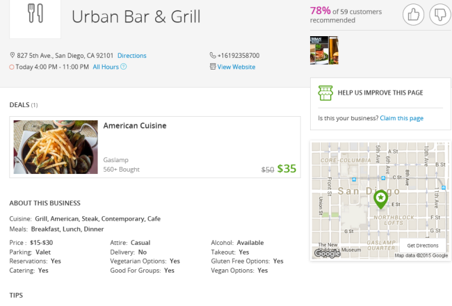 urban bar and grill groupon page